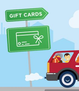 Fintech Insights – Illustration of a family traveling in a car with road signage in the background.