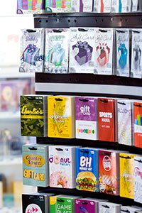 Retail – Display of a wide assortment of gift cards.