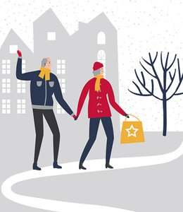 Fintech Insights – Illustration of a couple walking outdoors in winter.