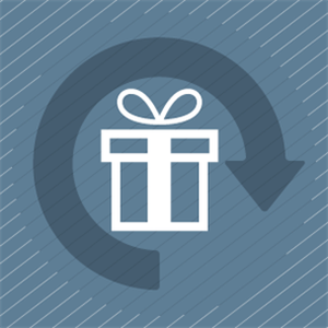 Fintech Insights – Illustration of a wrapped gift and a circular arrow.