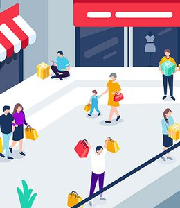 Fintech Insights – Illustration of customers carrying shopping bags in a shopping mall.