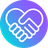Two holding hands in the shape of a heart on a gradient circular background.