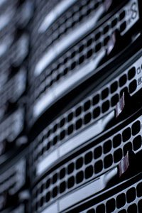 Tech – Close-up of servers in a data center.