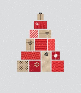 Fintech Insights – Illustration of wrapped presents stacked.