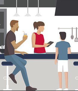 Fintech Insights – Illustration of parents and a child in a kitchen.